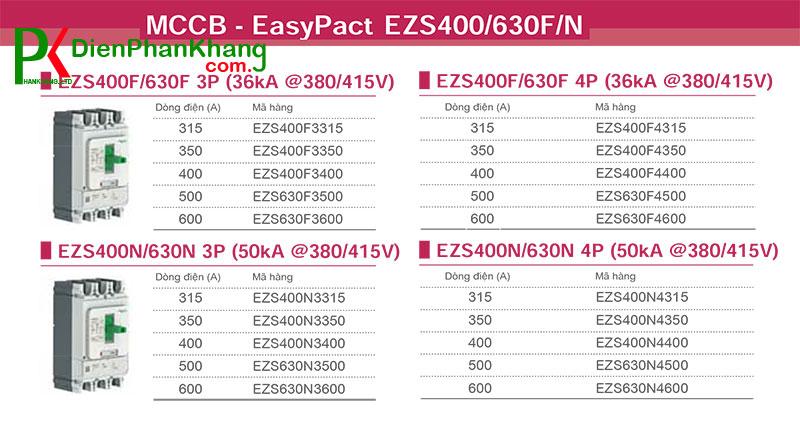 Aptomat khối MCCB Schneider EZS400/630F/N