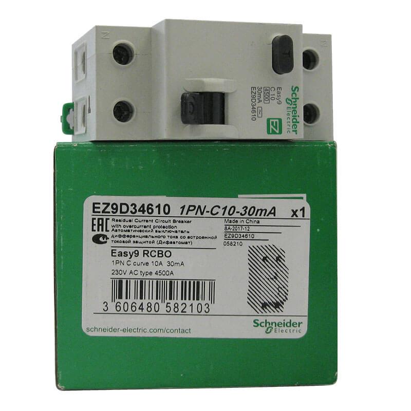 EZ9D34610 Aptomat Cầu dao chống dòng rò RCBO Schneider 1P+N 10A 30mA