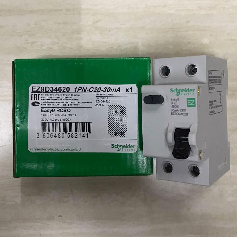 EZ9D34620 Aptomat Cầu dao chống dòng rò RCBO Schneider 1P+N 20A 30mA