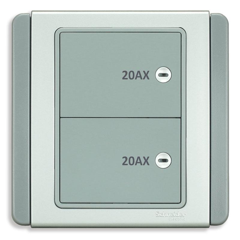 E3032HD20_EBGS_G19 Bộ công tắc đôi 2 cực, màu xám bạc