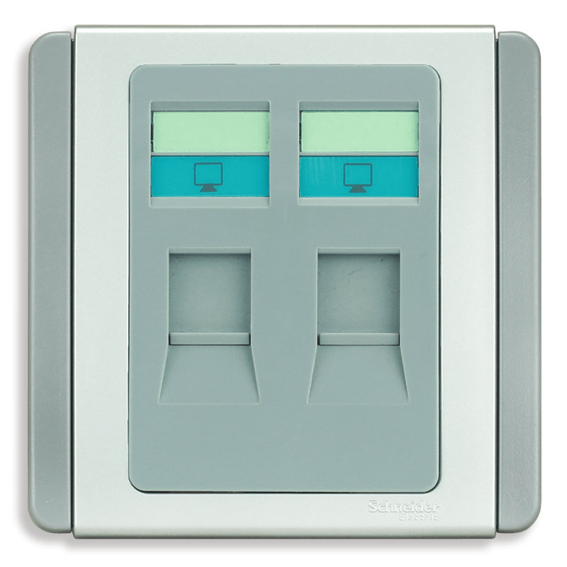 E3032RJ5E_GS_G19 Bộ ổ cắm mạng cat5e đôi, màu xám bạc