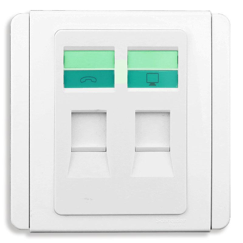 E3032TD_WW_G19 Bộ ổ cắm mạng cat5e và điện thoại, màu trắng