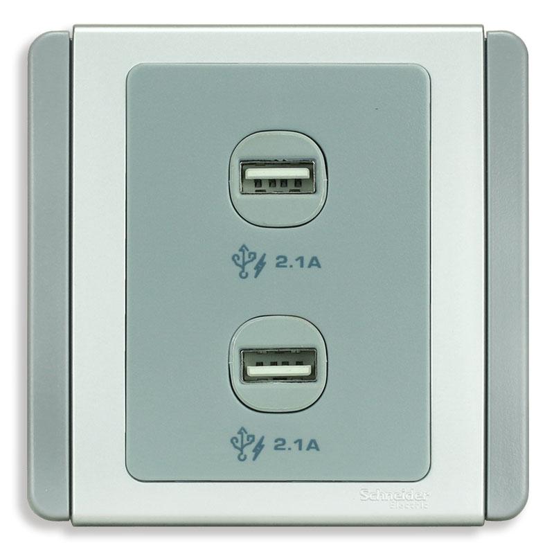 E3032USB_GS_G19 Bộ ổ sạc USB đôi, màu xám bạc
