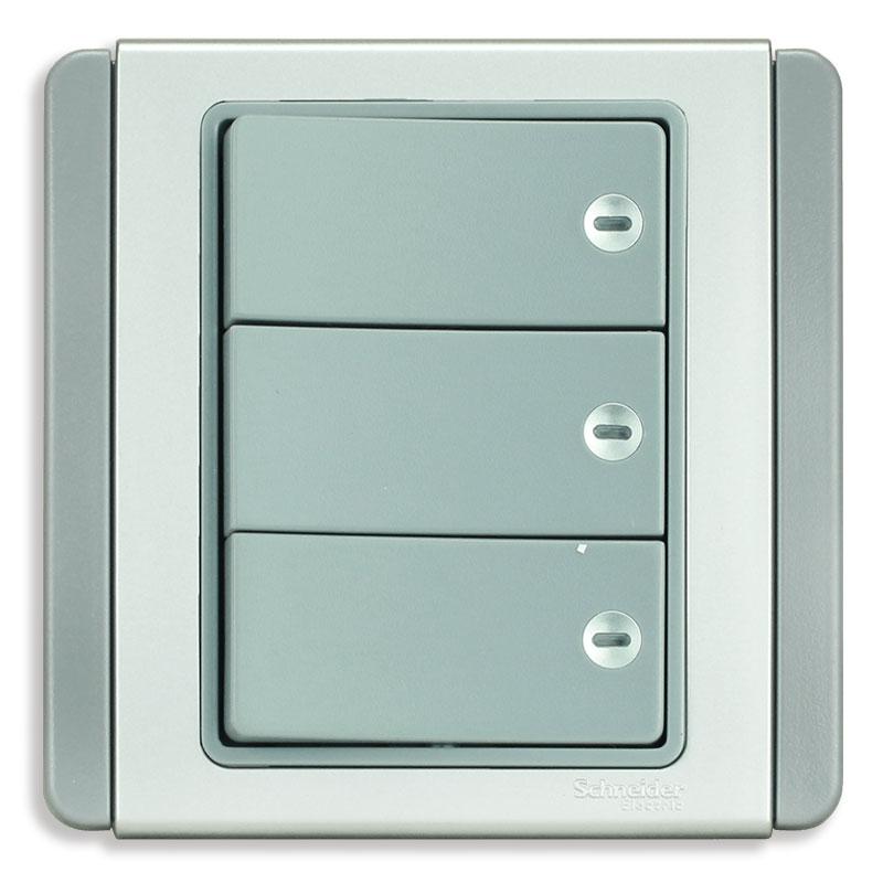 E3033H1_EBGS_G19 Bộ công tắc ba 1 chiều, màu xám bạc