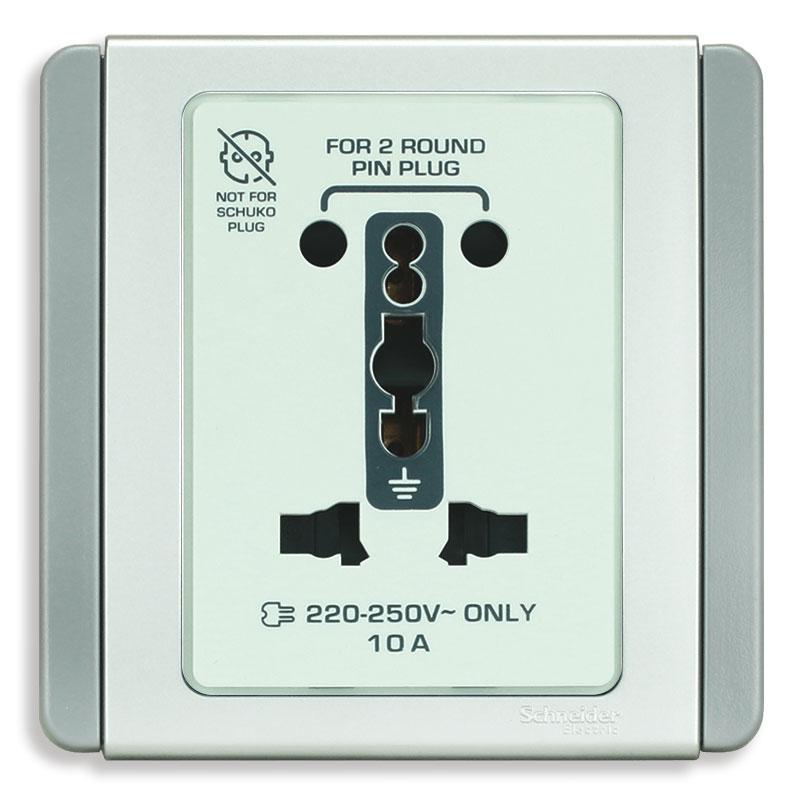 E3426_10IS_GS_G19 Bộ ổ cắm đa năng, màu xám bạc