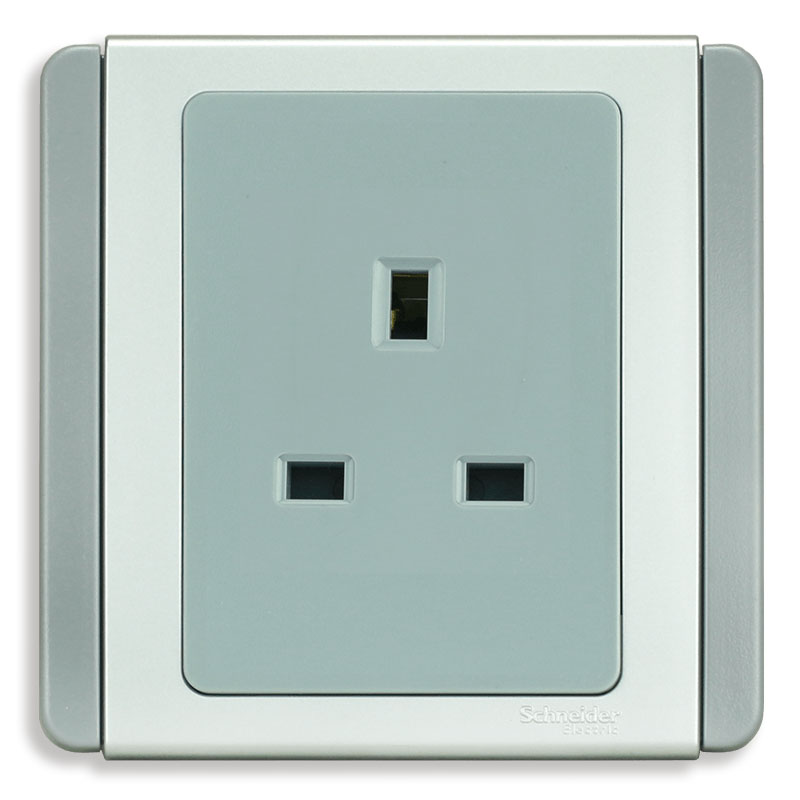 E3426_GS_G19 Bộ ổ cắm đơn 3 chấu vuông chuẩn Anh, màu xám bạc