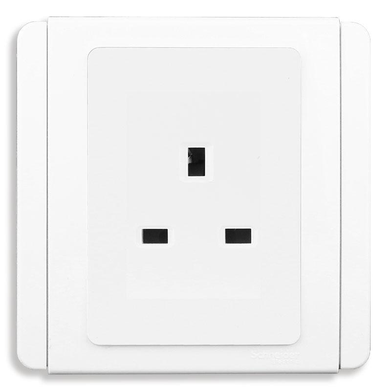 E3426_WW_G19 Bộ ổ cắm đơn 3 chấu vuông chuẩn Anh, màu trắng