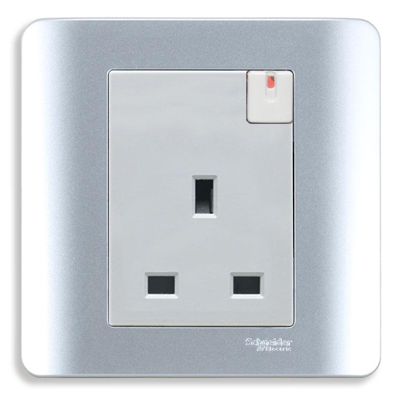 E8415_SA_G19 Bộ ổ cắm đơn 3 chấu vuông chuẩn Anh, có công tắc, màu xám bạc