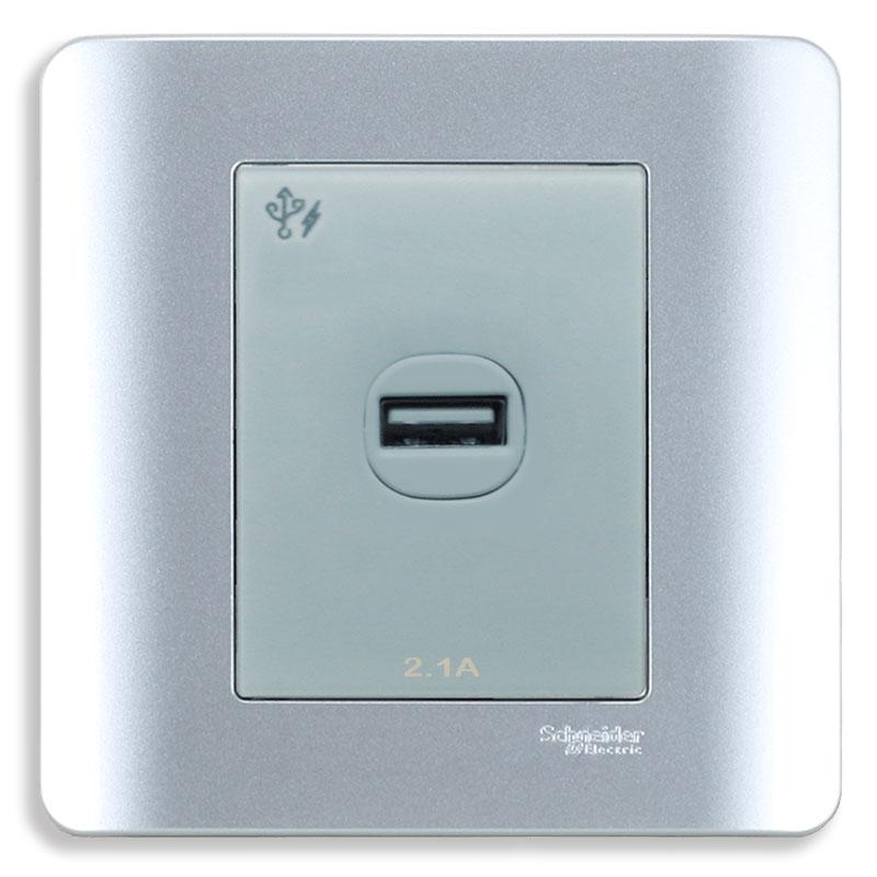 E8431USB_SA_G19 Bộ ổ sạc USB đơn, màu xám bạc