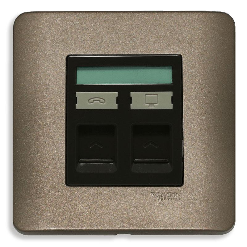E8432TDRJS_5SZ_G19 Bộ ổ cắm điện thoại và mạng cat5e, màu đồng