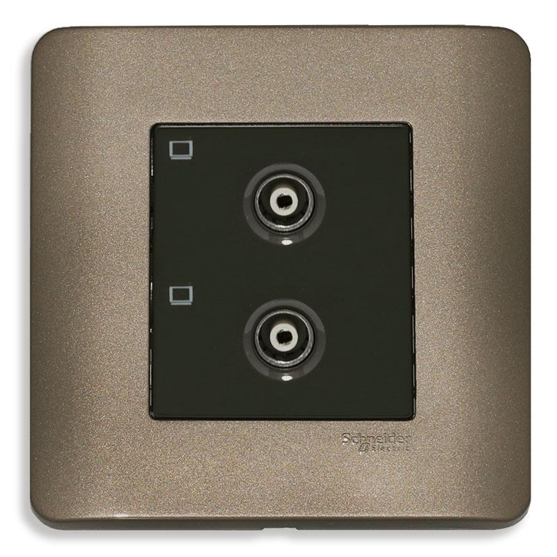 E8432TVS_SZ_G19 Bộ ổ cắm TV đôi, màu đồng