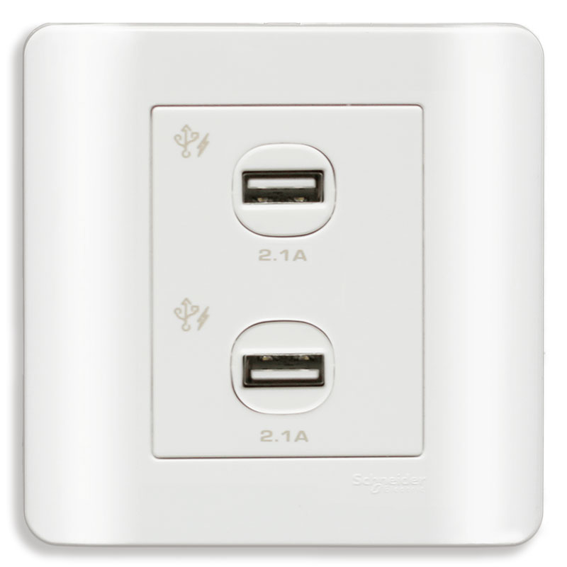 E8432USB_WE_G19 Bộ ổ sạc USB đôi, màu trắng