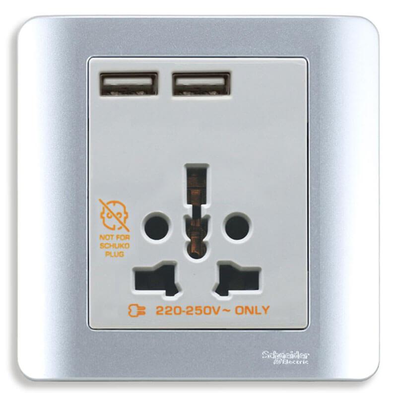 E8442616USB_SA_G19 Bộ Ổ cắm đa năng kèm 2 cổng sạc USB màu xám bạc