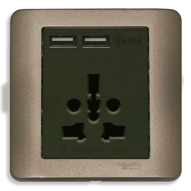 E8442616USB_SZ_G19 Bộ Ổ cắm đa năng kèm 2 cổng sạc USB màu đồng