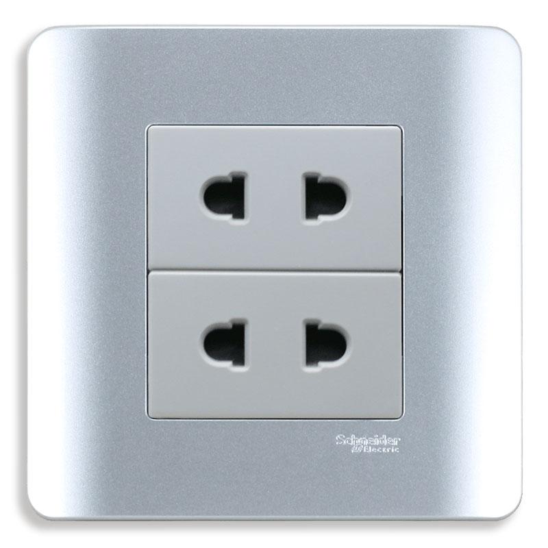 E84426U2_SA_G19 Bộ ổ cắm đôi 2 chấu, màu xám bạc
