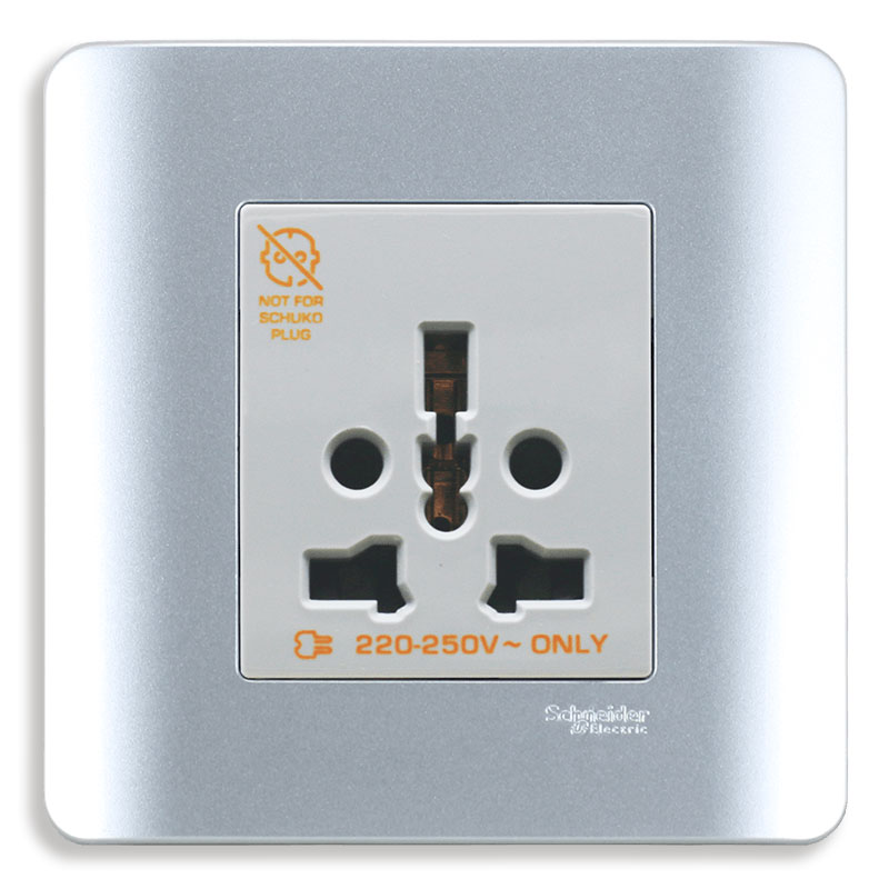 E84426_16TS_SA_G19 Bộ ổ cắm đơn đa năng, màu xám bạc
