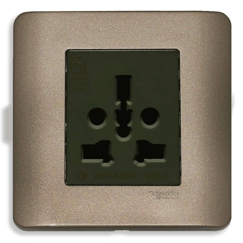E84426_16TS_SZ_G19 Bộ ổ cắm đơn đa năng, màu đồng
