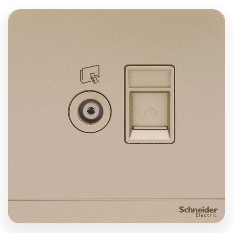 E8332TVRJS6_WG_G19 Bộ ổ cắm TV và ổ cắm mạng cat6, màu vàng cát