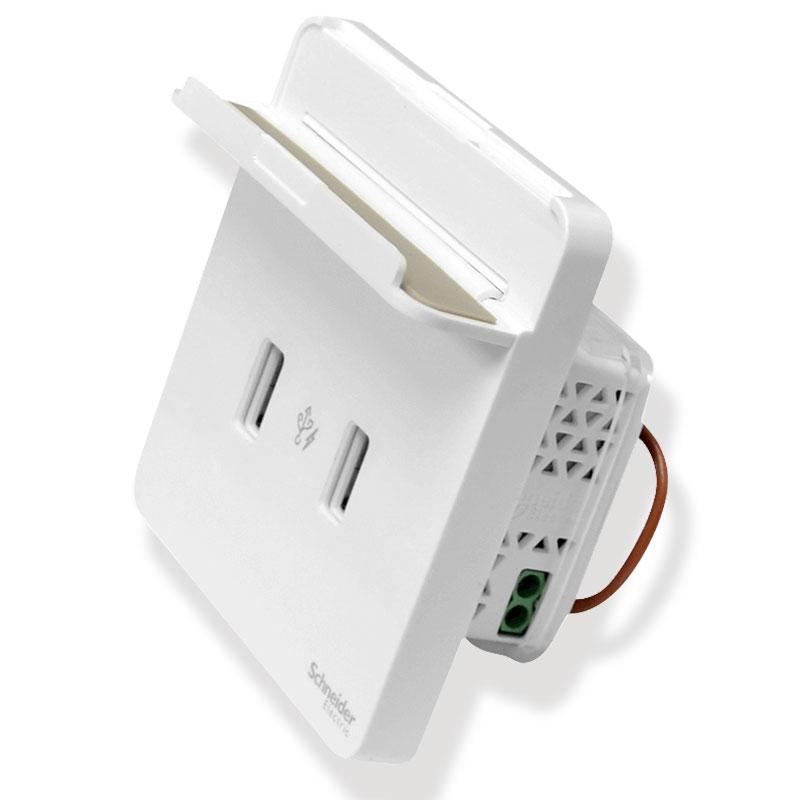 E8332USB_WE_G19 Bộ ổ sạc USB đôi, màu trắng