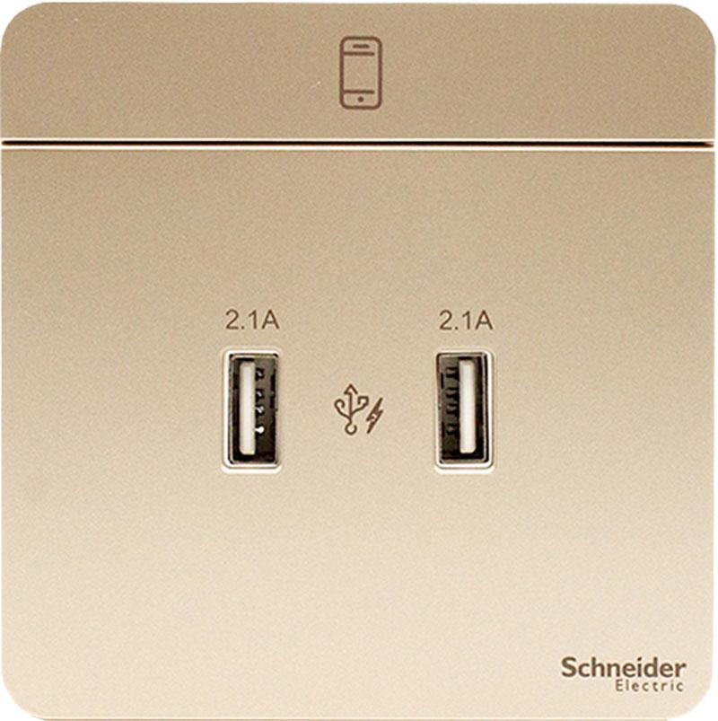E8332USB_WG_G19 Bộ ổ sạc đôi USB, màu vàng cát