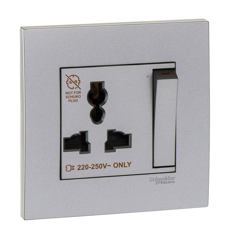 KB113LS_AS_G19 Bộ ổ cắm đơn đa năng có công tắc màu xám bạc
