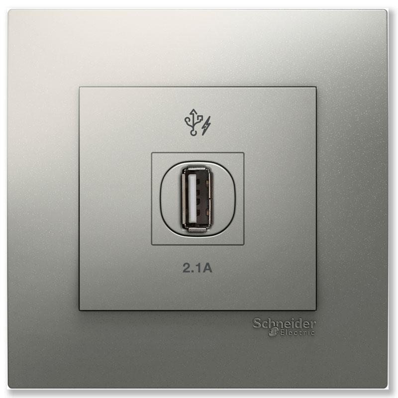 KB31USB_AS_G19 Bộ ổ cắm sạc USB đơn màu xám bạc