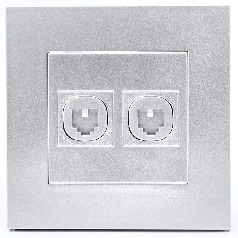 KB32TS_AS_G19 Bộ ổ cắm điện thoại đôi màu xám bạc