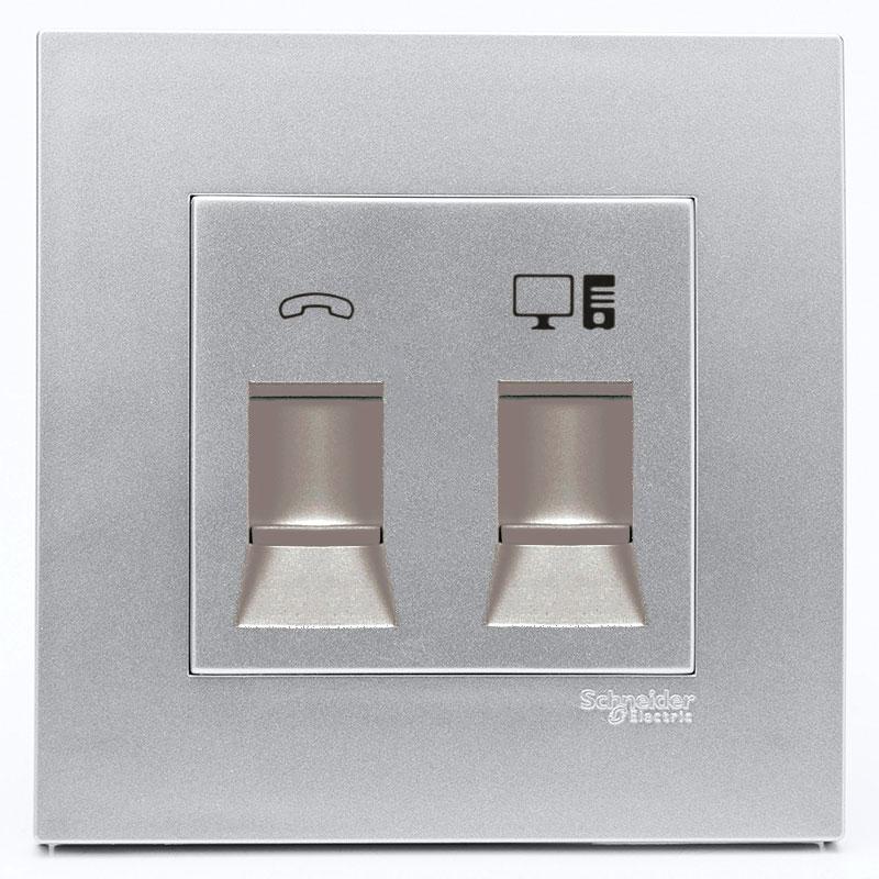 KB32TS_RJ5E_AS_G19 Bộ ổ cắm điện thoại và mạng cat5e màu xám bạc