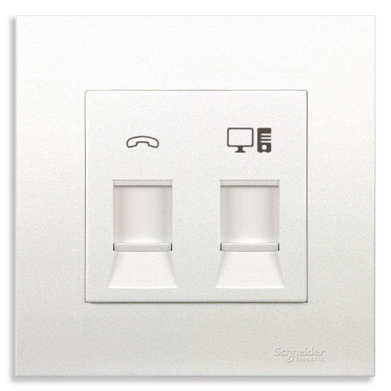 KB32TS_RJ5E_G19 Bộ ổ cắm điện thoại và mạng cat5e màu trắng