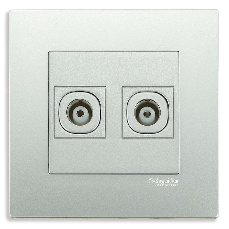 KB32TV_AS_G19 Bộ ổ cắm TV đôi màu xám bạc