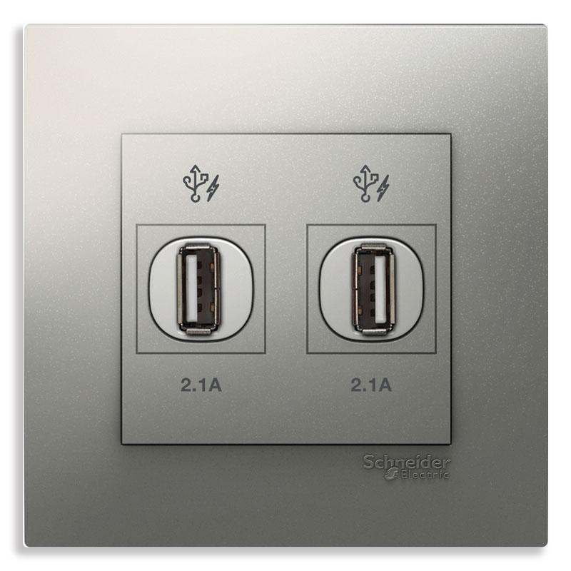 KB32USB_AS_G19 Bộ ổ cắm sạc USB đôi màu xám bạc