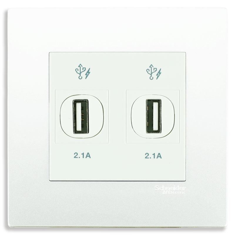 KB32USB_WE_G19 Bộ ổ cắm sạc USB đôi màu trắng