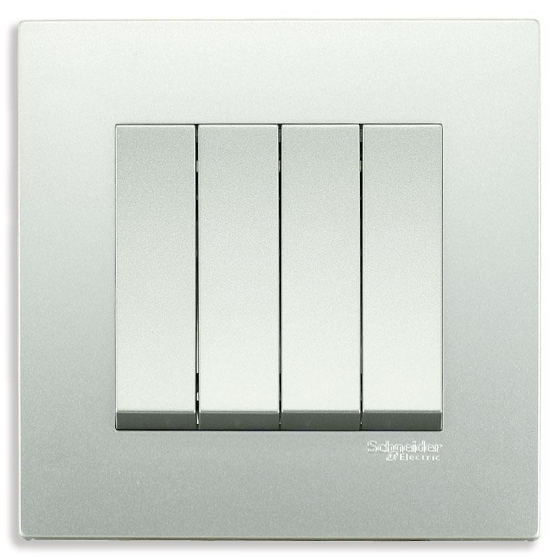 KB34S_1_AS_G19 Bộ công tắc bốn 1 chiều màu xám bạc