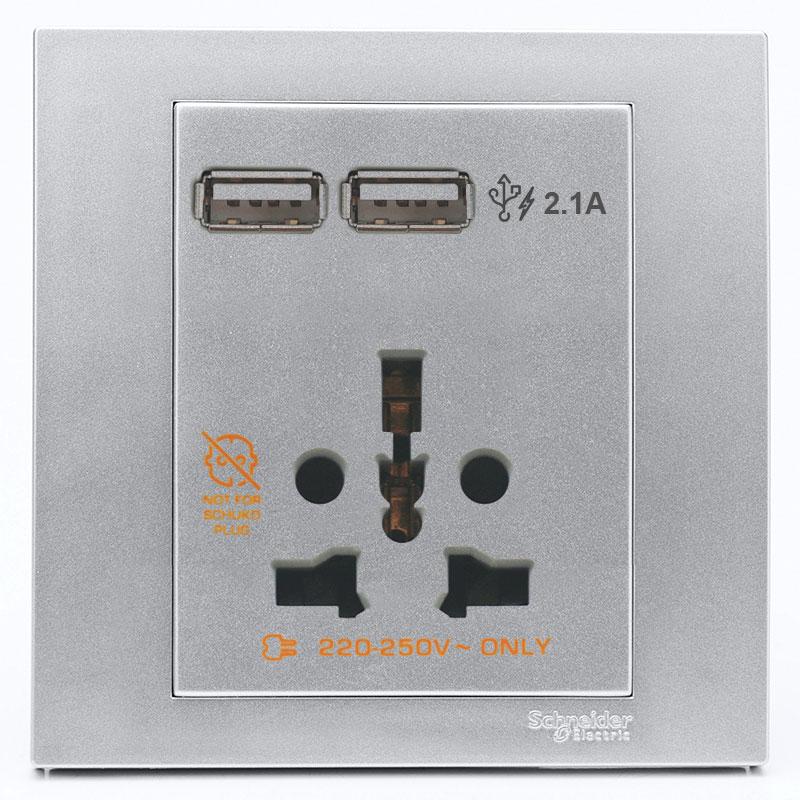 KB42616USB_AS_G19 Bộ Ổ cắm đa năng kèm 2 cổng sạc USB, màu xám bạc