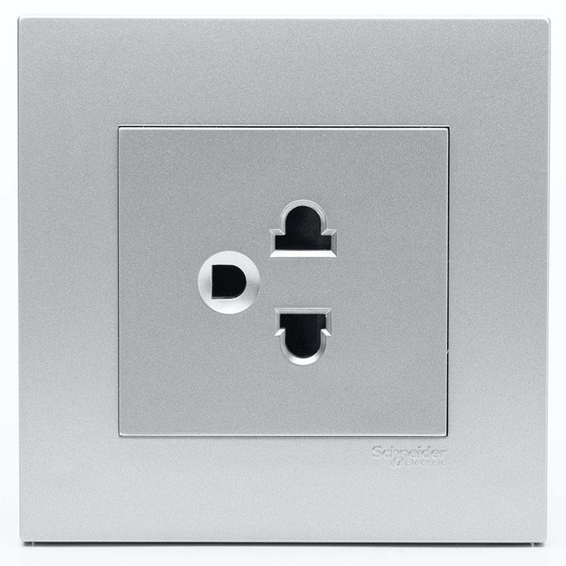 KB426UEST_AS_G19 Bộ ổ cắm đơn 3 chấu màu xám bạc