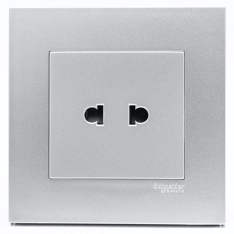KB426US_AS_G19 Bộ ổ cắm đơn 2 chấu màu xám bạc