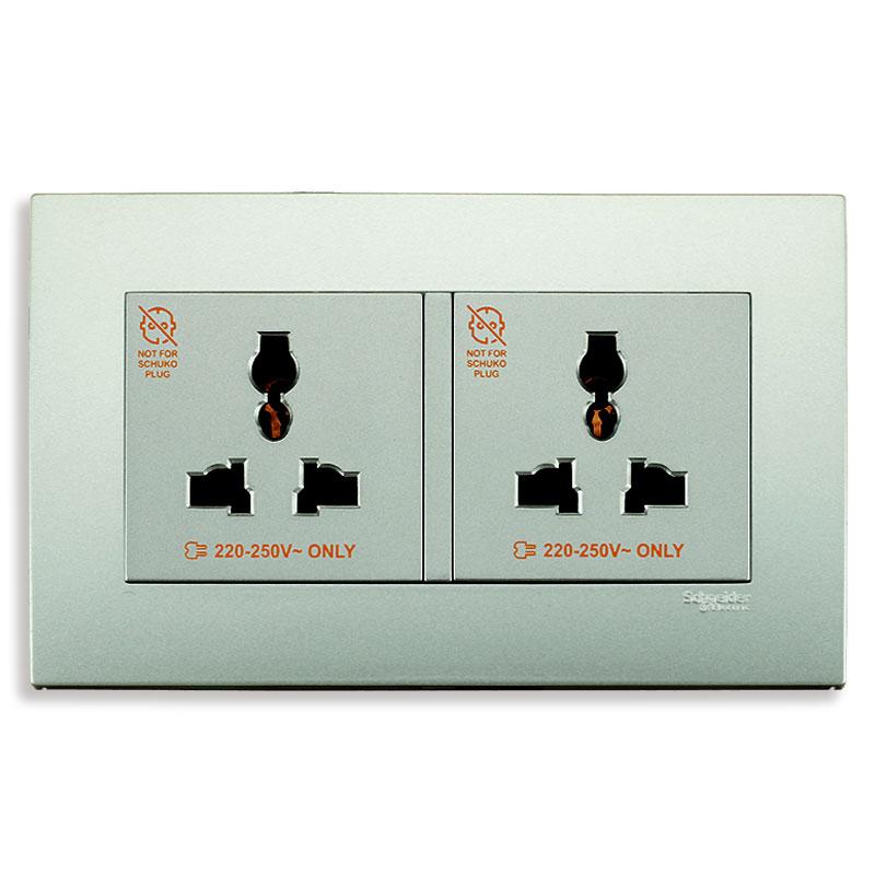 KBT413S_AS_G19 Bộ ổ cắm đôi đa năng màu xám bạc
