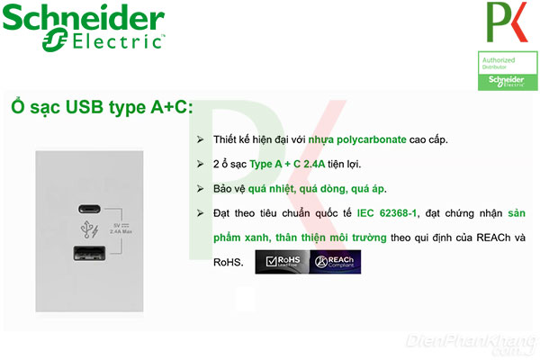 Ổ cắm USB AvatarOn A Schneider Electric