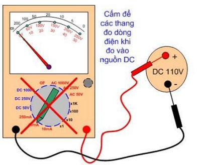 Cấm để các thang đo dòng điện khi đo vào nguồn DC