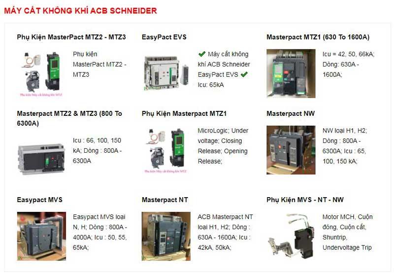 Máy cắt không khí ACB Schneider và phụ kiện có nhiều loại