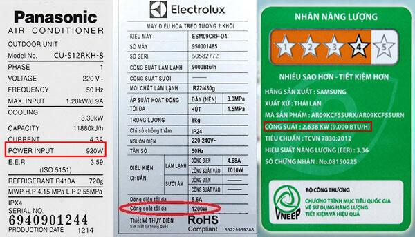 Tem dán Công suất tiêu thụ điện của điều hòa