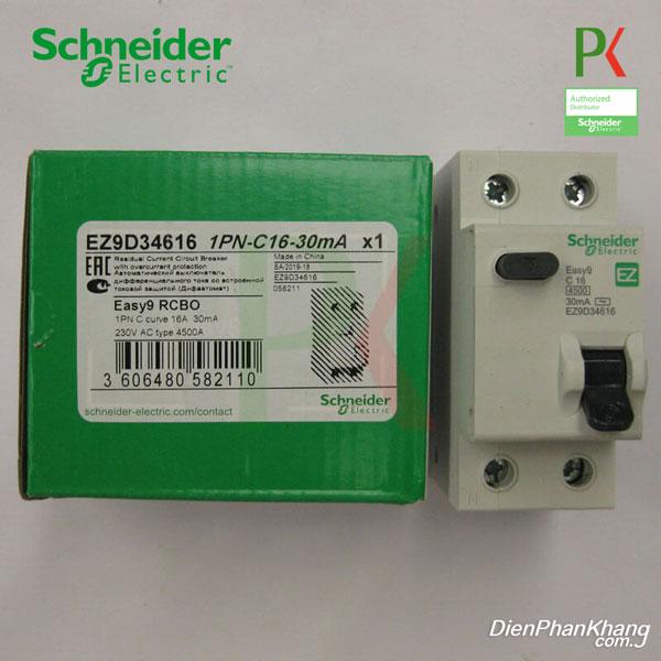 EZ9D34616 APTOMAT CẦU DAO CHỐNG DÒNG RÒ RCBO SCHNEIDER 1P+N 16A 30MA