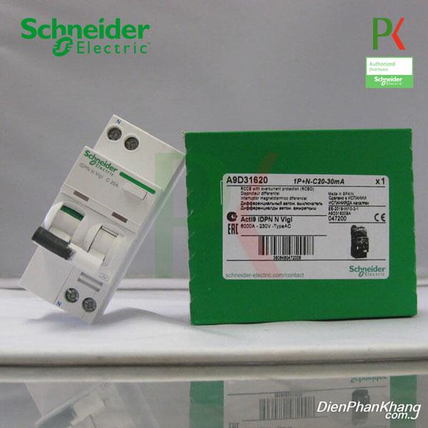 A9D31606 APTOMAT CẦU DAO CHỐNG DÒNG RÒ RCBO SCHNEIDER - 1P+N - 6A