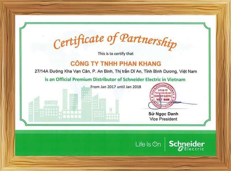 Chứng nhận nhà phân phối Công tắc ổ cắm Premium Schneider